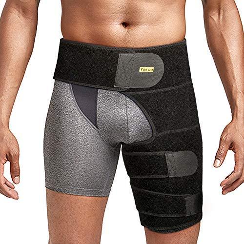 Oberschenkelbandage Hüft oberschenkel bandage kompression mit klettverschluss für Oberschenkel und Ischiasnerven Schmerzlinderung, Prävention von Muskelzerrungen und Rehabilitation(Schwarz)