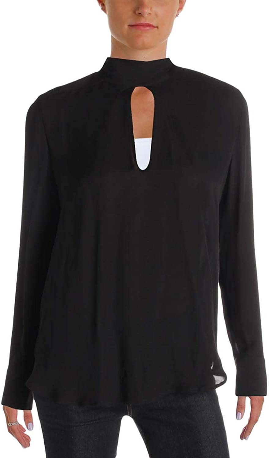 Chelsea & Walker Womens Cuffed Sleeves Sheer Blouse