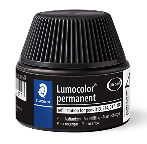 STAEDTLER Lumocolor 487 17-9, Cargador para marcadores 313, 314, 317, 318, Un frasco con tinta de color negro