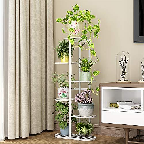Cretee Stehendes Blumenregal weißer Pflanzenregal Metall Blumentreppe 6 Stufen Blumenetagere (6-Tier 7 Pots)