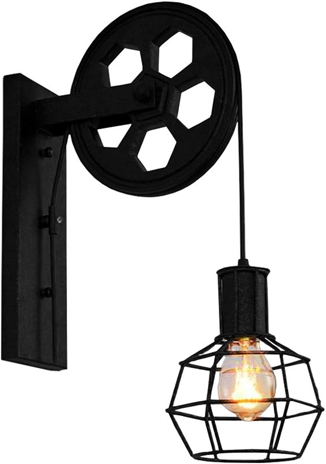 BAYCHEER HL471082 1 Light Wall Sconce Keyed Socket Pulley LED Industrial Wall Sconces Retro Wall Lights Fixture for Indoor Lighting Barn Restaurant in Black Finished