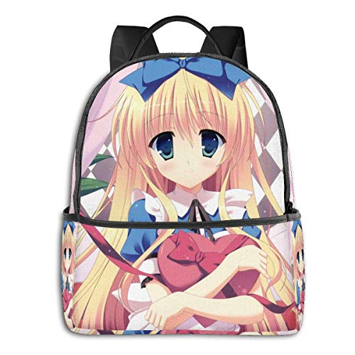 Alice in Wonderland - Mochila de viaje para ordenador portátil, resistente al agua, para escuela, universidad, estudiante, mochila