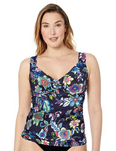 Anne Cole Women's Plus Size Twist Front Underwire Tankini Swim Top, Holiday Paisley, 20W