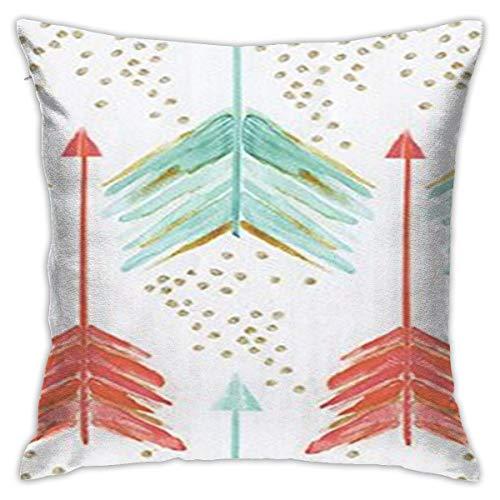 Antvinoler - Funda de almohada con diseño de flechas de coral y verde azulado, funda de almohada cuadrada de 45 cm y 45 cm