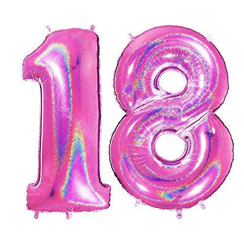 PartyMarty Ballon Zahlen 18 in PINK HOLOGRAFISCH - XXL Riesenzahl 100cm - für Geburtstag Jubiläum & Co - Party Geschenk Dekoration Folienballon Luftballon GmbH Nicht China sondern EU Ware funkelnd
