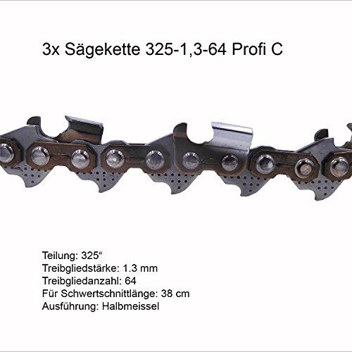 Sparpaket 3 Stück Sägeketten - Ersatzkette 325-1.3-64 Profi C für Husqvarna Motorsäge