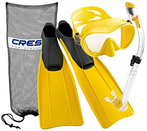 Cressi Clio Full Foot Fin Frameless Mask Dry Snorkel Set with Carry Bag, Yellow, Size 4/5-Size 37/38