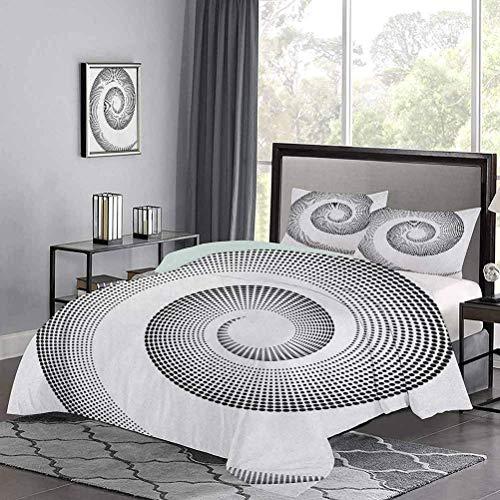 Housse de couette pour lit trois pièces La courbe dimensionnelle en spirale tourne autour d'un axe rotatif parallèle au centre de l'anneau Design Image Ensemble de couette moderne et léger Respirant e