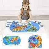 Dorime Juguete Reconocimiento Mapa del Mundo Puzzle niños Juguetes educativos Cultura Geografía Regalo 100PCS / Set