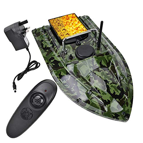 Asixx Fish Bait Boat, RC 500m Remote Control Wireless Fishing Lure Bait Boat Fish Finder with LED Night Light for Pools and Lakes, Hold 1.5kg Lure(Camouflage)(UK)