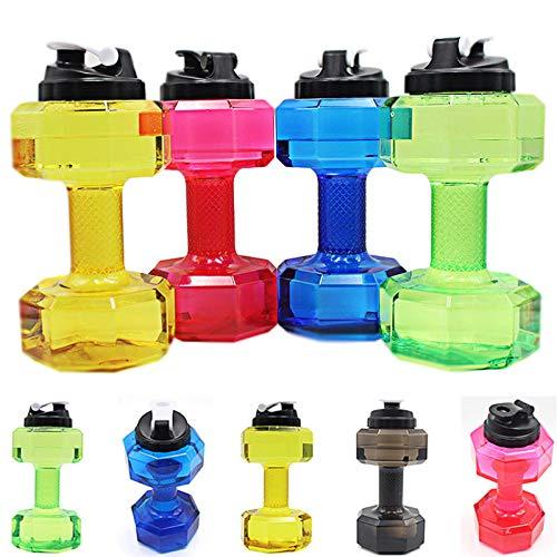 Aemiy - Botella de agua con forma de mancuerna de 2,5 l, botella de agua para deportes de fitness, sin BPA, para entrenamiento de gimnasio, levantamiento de pesas, correr en interiores y exteriores