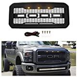 SEVENS Front Grill for Ford F250/F350 2011-2016, Raptor Style Grille Replacement Including 3 Amber LED Lights (Matte Black)