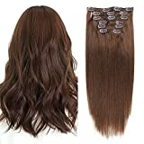 Clips Cheveux Extension Naturel #4 Chatain Chocolat 50cm Long 7 Bandes 70g - 100% Remy Humain Hair Double Weft