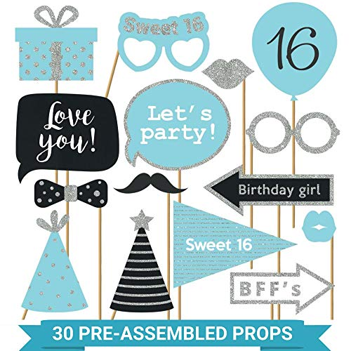 Fully Assembled Sweet 16 Birthday Photo Booth Props - Set of 30 - Teal Blue & Silver Selfie Signs - 16th Party Supplies & Decorations - 16th Bday Designs with Real Glitter - Did we mention no DIY?