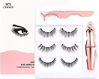 Magnetic Eyelashes Kit with Eyeliner and Tweezer - 3 Pairs of Eyelashes with Natural Look - No Glue Needed - M2