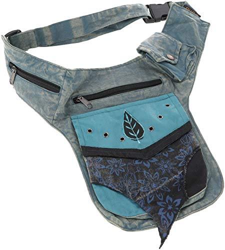 GURU SHOP Goa Gürteltasche, Bauchtasche, Patchwork Sidebag - Blau, Herren/Damen, Baumwolle, Size:One Size, 30x20 cm, Festival- Bauchtasche Hippie
