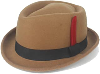 Hats and Caps Knight Cap Hipster Fedora Hat Winter Spring Felt Wool Red Feather Ladies Hat Panama Hat Men's Jazz Hat (Color : Khaki, Size : 56-58CM)