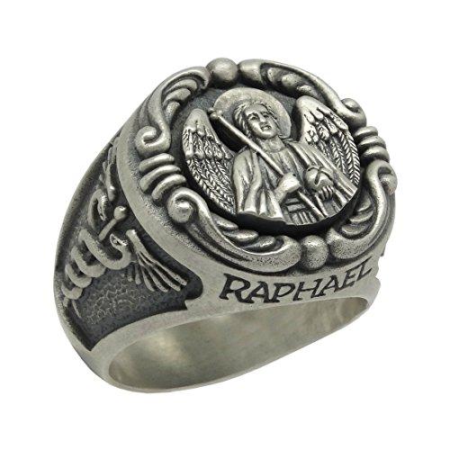 Saint Raphael Erzengel Handarbeit Sterling Silber 925?Herren Biker Ring, Christian, katholische, Orthodoxe Kirche, Tempelritter, US Army Medical Corps - 70 (22.3)