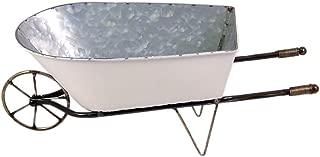 Small White Enamel Outdoor Wheelbarrow Planter Box, 16 1/2 Inches