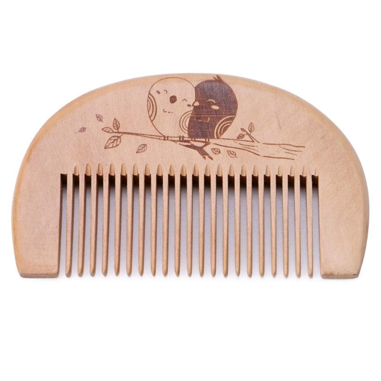 ばかげた形式グリット4個の手作りピーチウッドコーム - ふけ防止、非静電気、環境にやさしい - 頭皮や髪の健康に良い罰金