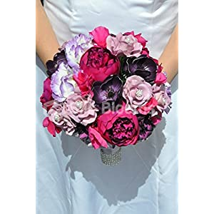 Beautiful Artificial Silk Peony and Lisianthus Bridal Bouquet with Anemones and Roses