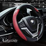 Valleycomfy Steering Wheel Cover with Microfiber Leather for Car Truck SUV 15 inch no Odour (red)