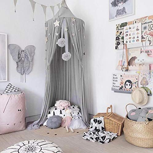 Dyna-Living Betthimmel Babybett Baby Baldachin Kinderzimmer Bed Canopy Grau