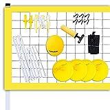 Sistema Portátil De Red De Voleibol Al Aire Libre, Red De Voleibol Al Aire Libre con Mesa De Arena, Postes Ajustables, Voleibol Y Bolsa De Transporte   para Patio Trasero, Playa,Amarillo