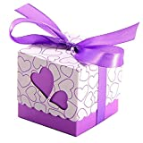 JZK 50 x Cajas detalles boda con cintas para bombones carame