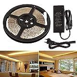 LEDMO Tira LED 12V,luces led 3000K Blanco cálido SMD2835 600leds IP65 impermeable 5m tiras led 15LM/LED cinta led ancho 8mm,Kit Completo con tira LED transformador 12V 5A