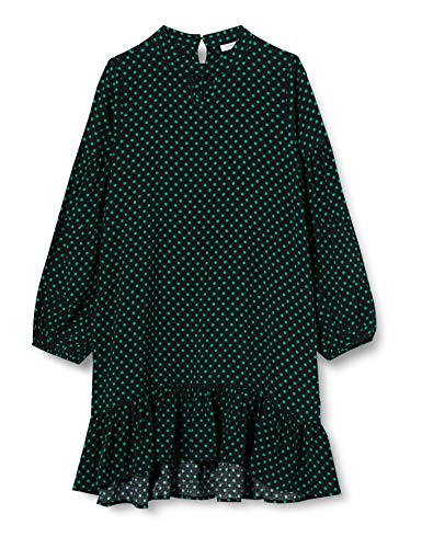 NAME IT Mädchen NKFTACCA LS Dress Kleid, Mehrfarbig (Black Black), 122