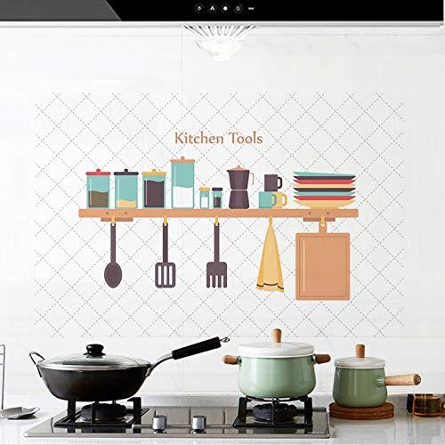 Wandaufkleber ZOZOSO Küche Antifouling und ölbeständige Aluminiumfolie Hochtemperatur-abnehmbare Würze Flasche Fliesen Aufkleber
