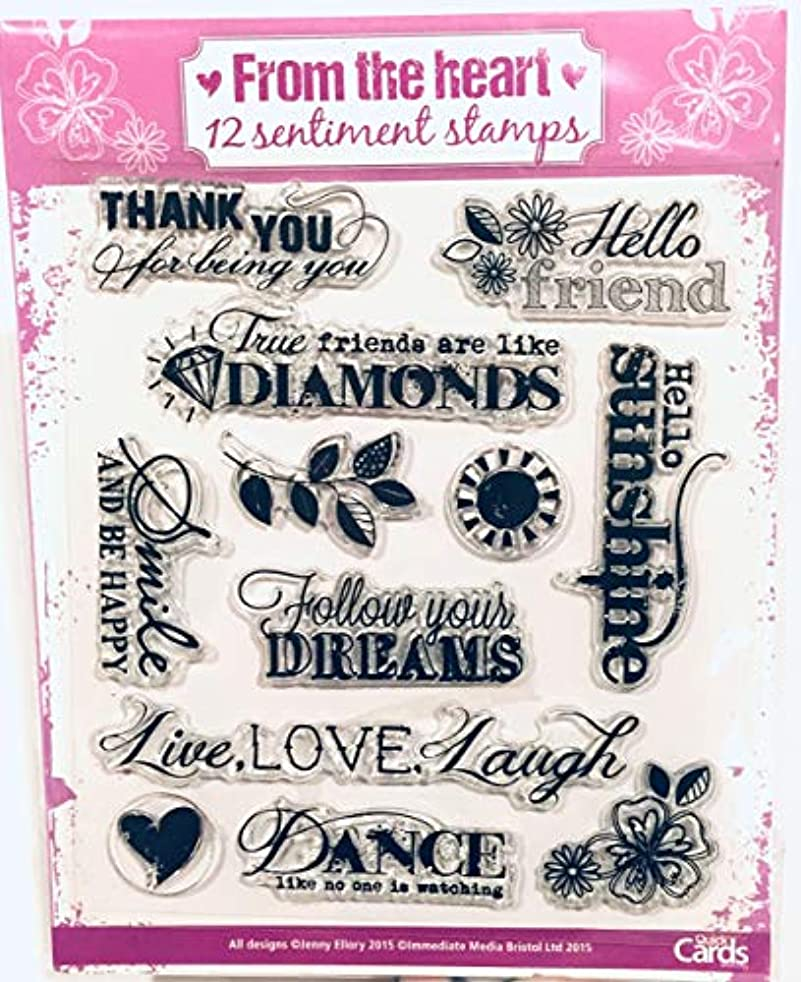 from The Heart 12 Sentimental Clear Stamps Set by Jenny Ellory for QuickCards