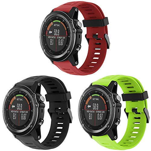 TOPsic Garmin Fenix 3 Sportuhr Armband - Silikon Sportarmband Uhr Band Strap Ersatzarmband Uhrenarmband mit Werkzeug für Garmin Fenix 3/Fenix 3 HR GPS Smart Watch