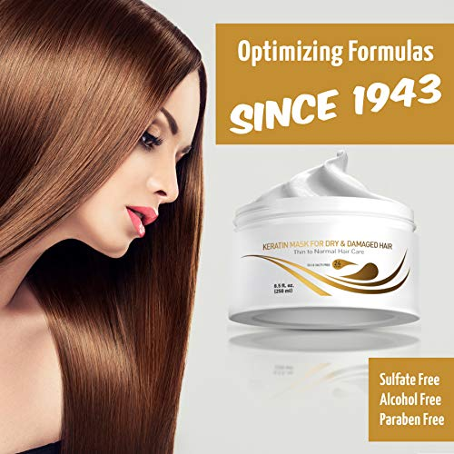 Vitamins Keratin Hair Mask Deep Conditioner - Protein Repair Boost for Dry Damaged and Color Treated Hair - Conditioning Treatment for Curly or Straight Thin Fine Hair