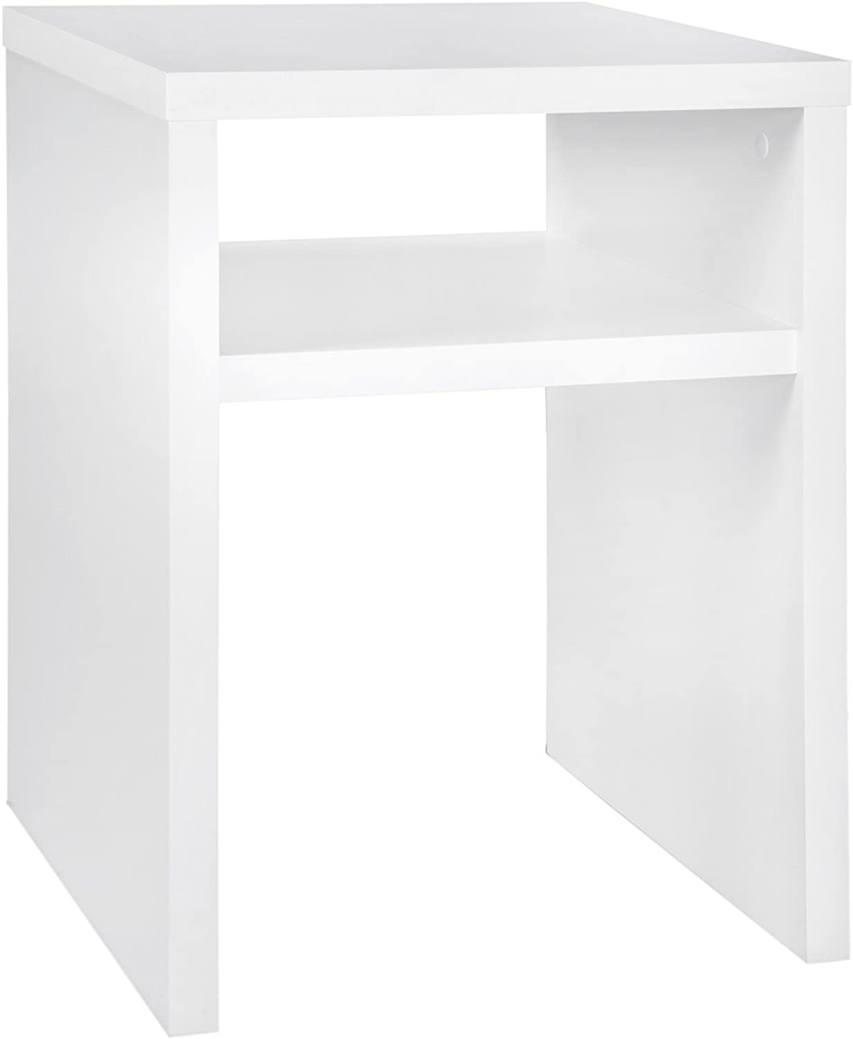 ClosetMaid 1656 2-Tier Square End Table with Storage Shelf, White