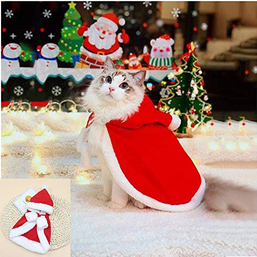 Zhenpony Christmas Cat Dog Costume Pet Cape, Cat Cloak with Xmas Hat, Soft and Thick Red Velvet...
