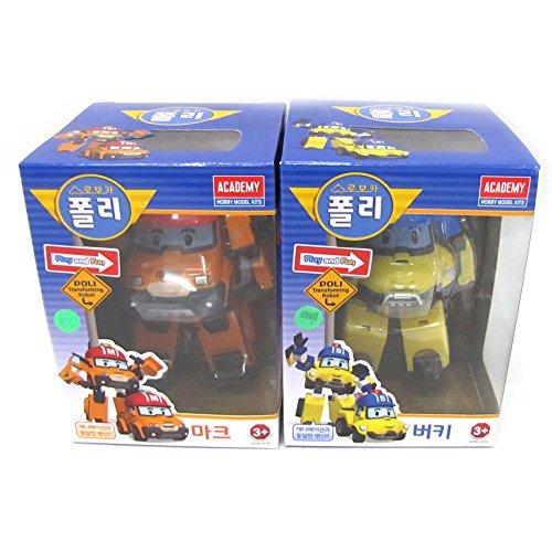 Robocar Poli Bucky Marcar Coche De Juguete Figura De Acción Academia Robot Transformador De 2 Pc Fijó