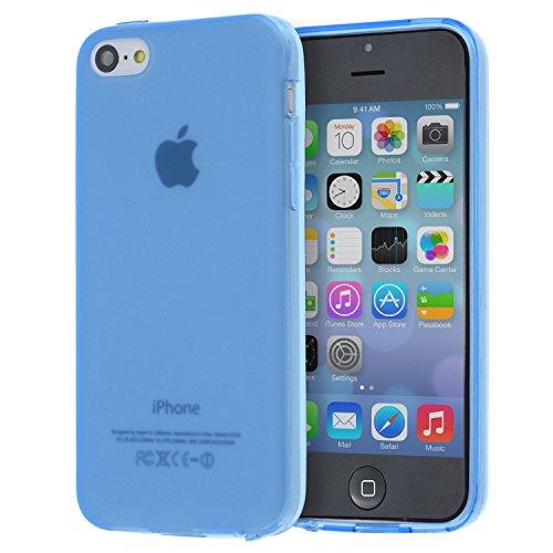 doupi PerfectFit TPU Custodia per iPhone 5C, Tappi di Polvere incorporatin Mat Trasparente Cover, Blue