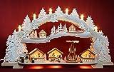 3D Räucher-Schwibbogen verschneiter Weihnachtsmarkt mit elektrischer Pyramide 72x41cm -Handarbeit aus dem Erzgebirge