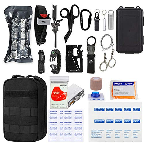 GRULLIN Emergency Survival First Aid Kit, 50 in 1 Multi-Purpose Tactical Molle EMT IFAK Pouch Trauma Bag Outdoor Gear with Survival Bracelet for Camping Hiking Hunting Travel Car Adventures