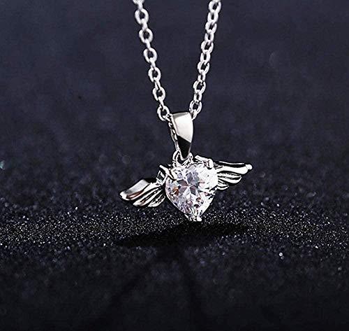 NC110 Lindo Collar de Colgantes de corazón Femenino con Cristal Elegante Collar de alas Collares de ángel tamaño 40cm YUAHAOJIGE8