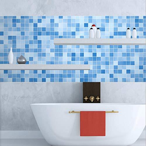 Papel pintado adhesivo autoadhesivo, decoración de suelo a prueba de agua a cuadros azul para muebles de pared, suelo, escalera o cualquier superficie lisa