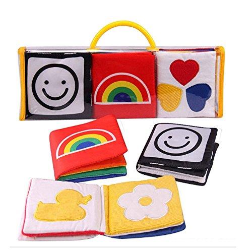XLKJ Set di 3 libri per lo sviluppo visivo di bambini in stoffa, libri di stoffa per bambini, per bambini neonatali