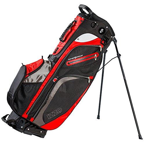Izzo Golf Versa Riding/Walking Hybrid Black, Grey and Red Golf Stand Bag