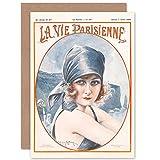Artery8 La Vie Parisienne Portrait Woman Water Magazine Cover Sealed Greeting Card Plus Envelope Blank Inside París Retrato Mujer Agua Portada de la Revista Cubrir