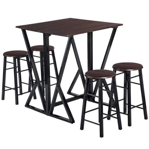 T-ara Suave y Confortable Glum Coffee, 5 Piezas de Comedor, Mesa de Mesa con taburetes de 4 Bar. diseño de Moda
