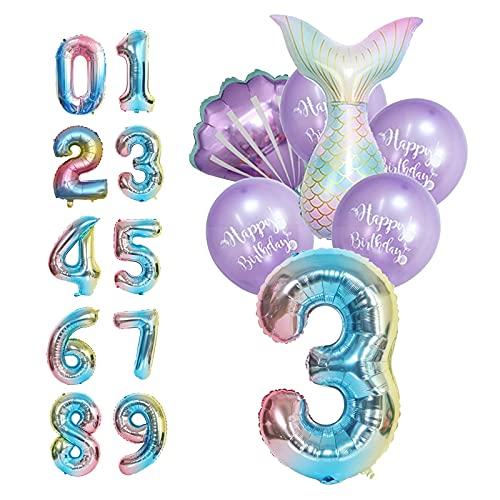 Palloncini Compleanno 3 Anno,Sirena 3 Anno Palloncini,Sirena Coda Palloncino Set,Palloncini Sirena Viola,Palloncino Numero 3,Foil Palloncini Numeri 3, Doccia per Bambini,Festa di Compleanno(Numero 3)