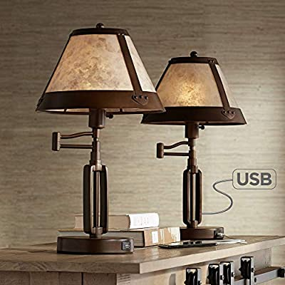 Samuel Rustic Industrial Swing Arm Desk Table Lamps Set of 2 with USB Charging Port Bronze Mica Shade for Living Room Bedroom Bedside Office - Franklin Iron Works