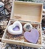 Geschenkbox Lavendel - handgemachte Lavendelseife und -badepraline aus natürlichen Rohstoffen